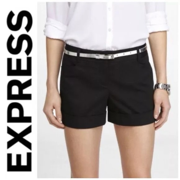 Express Pants - Express 0 Cuffed Shorts Flat Front Basics Casual